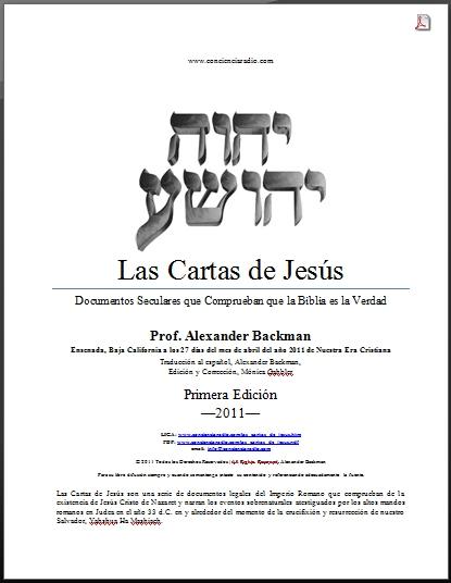 LAS CARTAS DE JESUS, ALEXANDER BACKMAN